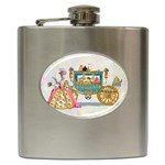 Marie And Carriage W Cakes  Squared Copy Hip Flask (6 oz)