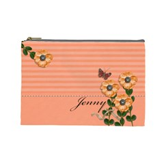 Cosmetic Bag (large)   Stripes And Orange Flowers By Jennyl   Cosmetic Bag (large)   T532qm2ddza4   Www Artscow Com Front