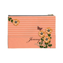 Cosmetic Bag (large)   Stripes And Orange Flowers By Jennyl   Cosmetic Bag (large)   T532qm2ddza4   Www Artscow Com Back
