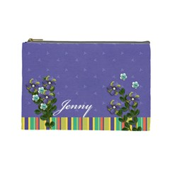 Cosmetic Bag (large)   Purple & Stripes  By Jennyl   Cosmetic Bag (large)   Y41a3ii6ir0g   Www Artscow Com Front