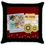 my family - Throw Pillow Case (Black)