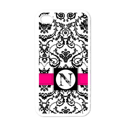 Damask Iphone Case By Nicole Winkler   Apple Iphone 4 Case (white)   Tp26vh0mra7h   Www Artscow Com Front