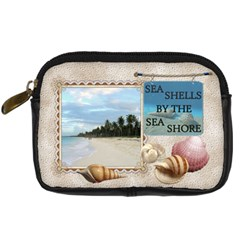 Sea Shells Digital Leather Camera Case By Lil    Digital Camera Leather Case   B11fzplgk1lo   Www Artscow Com Front