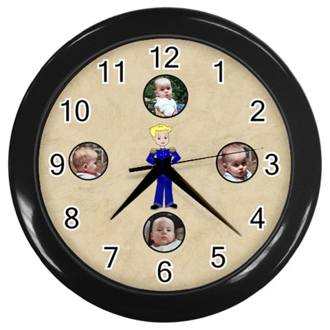 Our Prince Clock By Maryanne   Wall Clock (black)   52up0h9gh8px   Www Artscow Com Front