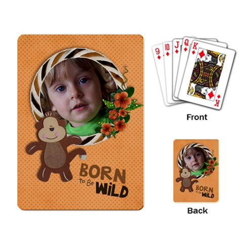 Born To Be Wild/monkey Playing Cards (single Design) By Mikki   Playing Cards Single Design   8i9pqdnna52i   Www Artscow Com Back