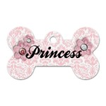 Pink Damask & flowers- Bone Dog tag (2 sides) - Dog Tag Bone (Two Sides)