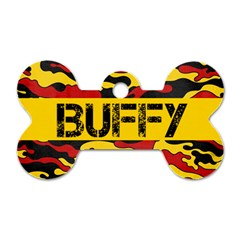Camo/red & Yellow  Bone Dog Tag (2 Sides) By Mikki   Dog Tag Bone (two Sides)   Kk1upuau7rmc   Www Artscow Com Front