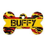 Camo/Red & Yellow- Bone Dog tag (2 sides) - Dog Tag Bone (Two Sides)