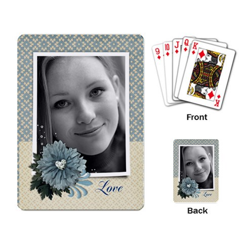Blue Floral Playing Cards (single Design) By Mikki   Playing Cards Single Design   J99w46r4lr9d   Www Artscow Com Back