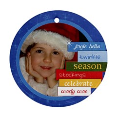 Family/christmas/wreath  Round Ornament (2 Sides) By Mikki   Round Ornament (two Sides)   O8tmbtmly1fi   Www Artscow Com Front
