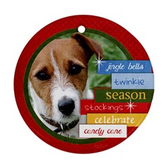 Family/christmas/wreath  Round Ornament (2 Sides) By Mikki   Round Ornament (two Sides)   O8tmbtmly1fi   Www Artscow Com Back