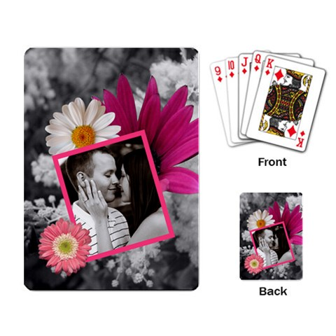 Pink Floral Playing Cards By Lil    Playing Cards Single Design   Gwjbbrm2jmd3   Www Artscow Com Back