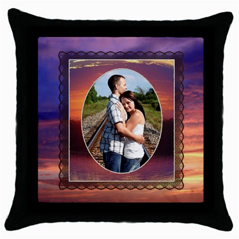 Romantic Sunset Throw Pillow By Lil    Throw Pillow Case (black)   Abf310dyrb41   Www Artscow Com Front