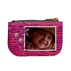 Hot Pink Zebra/diamonds Mini Coin Purse By Mikki   Mini Coin Purse   5a01o2maiu33   Www Artscow Com Back