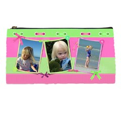 Pink And Green Pencil Case By Deborah   Pencil Case   Zs0atcjjji37   Www Artscow Com Front