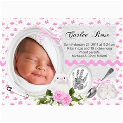 New Baby Girl Photo Card Announcement By Laurrie   5  X 7  Photo Cards   H2t0lau1v8q2   Www Artscow Com 7 x5 Photo Card - 2