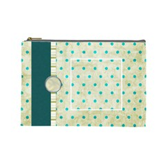 Covered In Teal Large Cosmetic Bag 1 By Lisa Minor   Cosmetic Bag (large)   Rle8h6odqk4i   Www Artscow Com Front