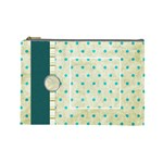 Covered in Teal Large Cosmetic Bag 1 - Cosmetic Bag (Large)