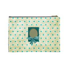 Covered In Teal Large Cosmetic Bag 1 By Lisa Minor   Cosmetic Bag (large)   Rle8h6odqk4i   Www Artscow Com Back