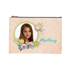Sunshine & Flowers Cosmetic Bag (large)  By Mikki   Cosmetic Bag (large)   3cwrkr7shnf4   Www Artscow Com Front
