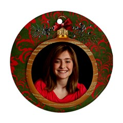 Candy Cane/ornament/christmas Round Ornament (2 Sides) By Mikki   Round Ornament (two Sides)   Pb4uj6hqdoke   Www Artscow Com Back
