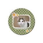 flower cat - Rubber Coaster (Round)