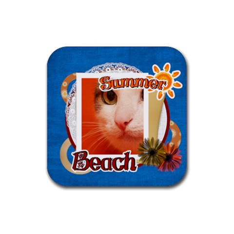 Summey Cat By Joely   Rubber Coaster (square)   J9woz8is6vvx   Www Artscow Com Front