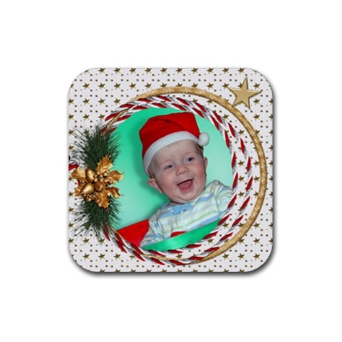 Christmas Wreath Square Coaster By Deborah   Rubber Coaster (square)   17v2atkd7ckn   Www Artscow Com Front