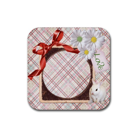 Coaster Bunny Love By Heather    Rubber Coaster (square)   Vu59azqik13k   Www Artscow Com Front