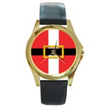 Santa  B  - Round Gold Metal Watch