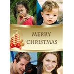 Four Photo Merry Christmas Card (5x7) - Greeting Card 5  x 7