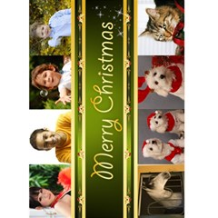 8 Picture Merry Christmas Card 5x7 (green) By Deborah   Greeting Card 5  X 7    Z81qslmtn4pg   Www Artscow Com Front Cover