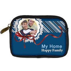 My Home  Happy Family By Joely   Digital Camera Leather Case   768kas1n9xhq   Www Artscow Com Front