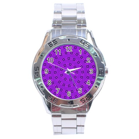 Purple Pinna By Doug O   Stainless Steel Analogue Watch   7ss4n8p4yk9g   Www Artscow Com Front