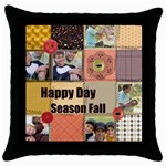happy season - Throw Pillow Case (Black)