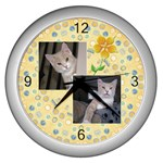 Pretty Yellow Wall Clock - Wall Clock (Silver)
