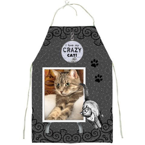 Crazy Cat Apron By Lil    Full Print Apron   R54dd426pmgy   Www Artscow Com Front