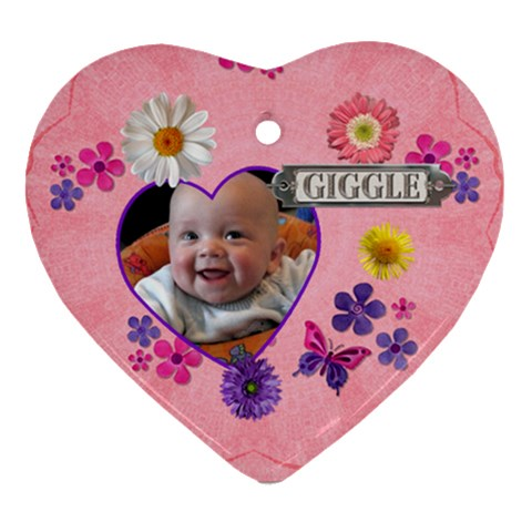Giggle Heart Ornament By Lil    Ornament (heart)   1qv9vxka6uem   Www Artscow Com Front