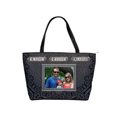 Live Love Laugh Charcoal Shoulder Handbag by Lil Front