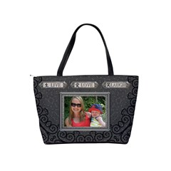 Live Love Laugh Charcoal Shoulder Handbag by Lil Back