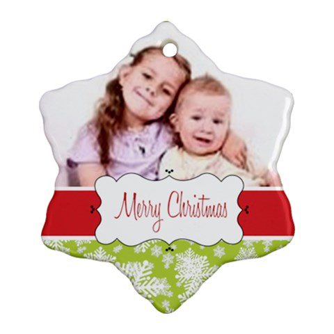 Merry Christmas By Wood Johnson   Ornament (snowflake)   M9w6slaspibd   Www Artscow Com Front