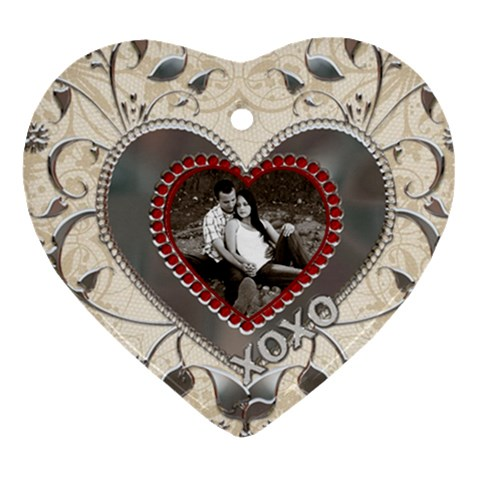 Kisses And Hugs Heart Ornament By Lil    Ornament (heart)   931f0skgk8tg   Www Artscow Com Front