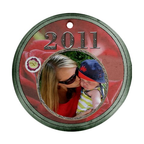 Red Rose 2011 Round Ornament By Lil    Ornament (round)   U8h9luybuyvv   Www Artscow Com Front