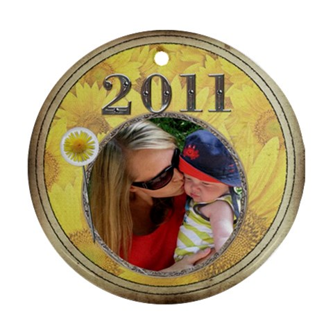 Yellow Flowers 2011 Round Ornament By Lil    Ornament (round)   1hiu7ikw38o0   Www Artscow Com Front