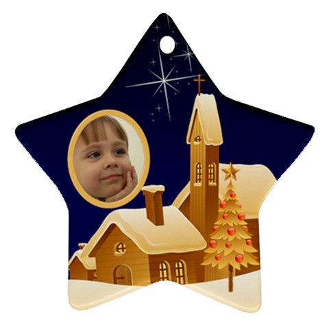 Christmas Night Star Ornament By Deborah   Ornament (star)   65cq3nmx6gtu   Www Artscow Com Front