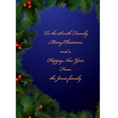 Merry Christmas In Blue 5x7 Card By Deborah   Greeting Card 5  X 7    Egmgk4vwkx4s   Www Artscow Com Back Inside