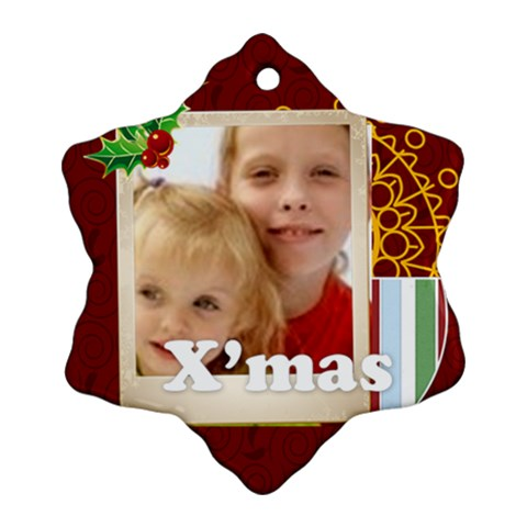 Christmas By Joely   Ornament (snowflake)   Ylq9s8fapxd4   Www Artscow Com Front