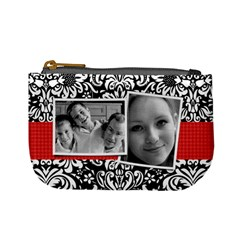 Damask (red & Black) Mini Coin Purse By Mikki   Mini Coin Purse   S0foa2xhcge8   Www Artscow Com Front