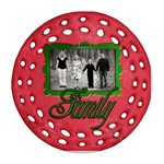 family red green ornament - Ornament (Round Filigree)
