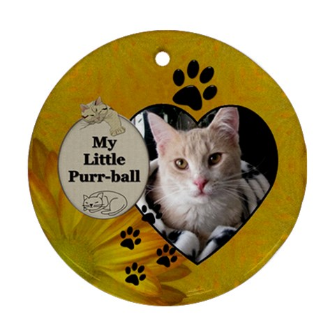 My Little Purr Ball Round Ornament By Lil    Ornament (round)   Bx4ggifl34xg   Www Artscow Com Front